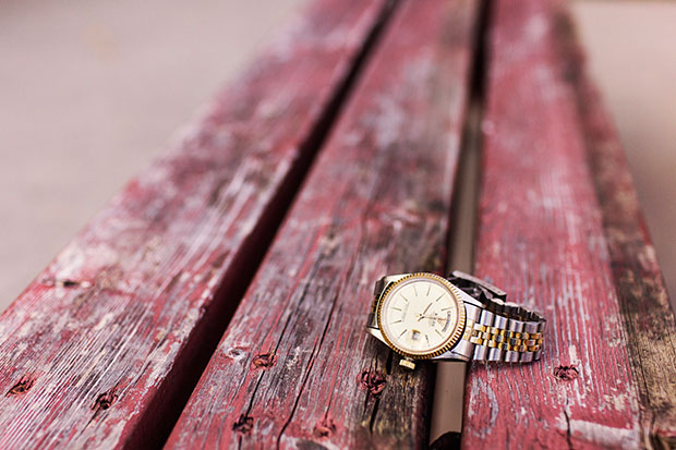 Wristwatch on picnic table - stress relief tips list