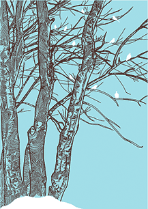 Simple etching of birds in snowy tree - Simple living